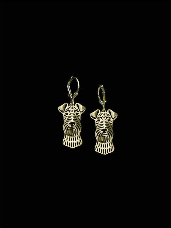 Trendy Airedale Terrier dog drop earrings gold silver plated wholesale earrings women fashion jewelry from india bridal earing