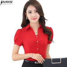 9ae1f2e773bbdc Summer short-sleeve V-neck slim shirt women OL fashion all-match white Red  chiffon blouse female office plus size work wear tops