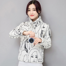 Women s Short Paragraph Thickening Printed Cotton Clothing Winter New Clothes Slim Cotton Jacket Large Size