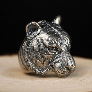 Zabra Аутентичные стерлингового серебра 925 Прохладный Тигр большое кольцо для Для мужчин S Винтаж панк ретро властная палец готический кольцо ...
