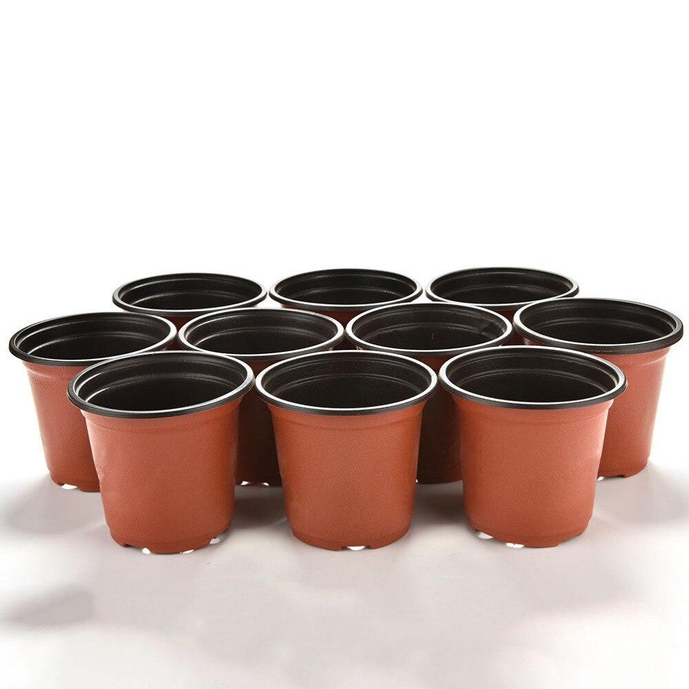 10 Pcs/Set Plastic Round Flower Pot Nursery Pots Planter Home Garden Decor