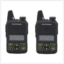 2pcs x baofeng mini walkie talkie BF T1 uhf 400 470mhz 1w 20ch pequeno rádio portátil fm de dois sentidos com fone de ouvido