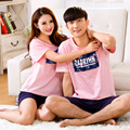 2016 hot fashion pink cotton pajamas set couple models summer outer wear short-sleeved lovers sleepwear tracksuit suit Plus size
