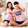 2016 hot moda de rosa de algodão pijamas set modelos casal de verão desgaste exterior amantes de manga curta sleepwear treino terno Plus size