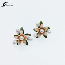 High-end Natural Freshwater Pearl Earrings Orange Flower Stud Earring Green Leaves Retro Earrings For Women(China)