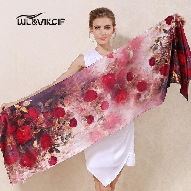 Silk Scarf Femme 100% Natural Luxury Brand High Quality Long Foulard Scarves Women 175*52cm Fashion Rose Printed Shawl Lady Yn1