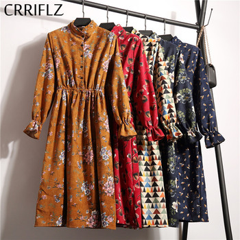 High Elastic Waist Corduroy Vintage Dress A-line Women Full Sleeve Flower Plaid Print Dresses Slim Feminino CRRIFLZ 6