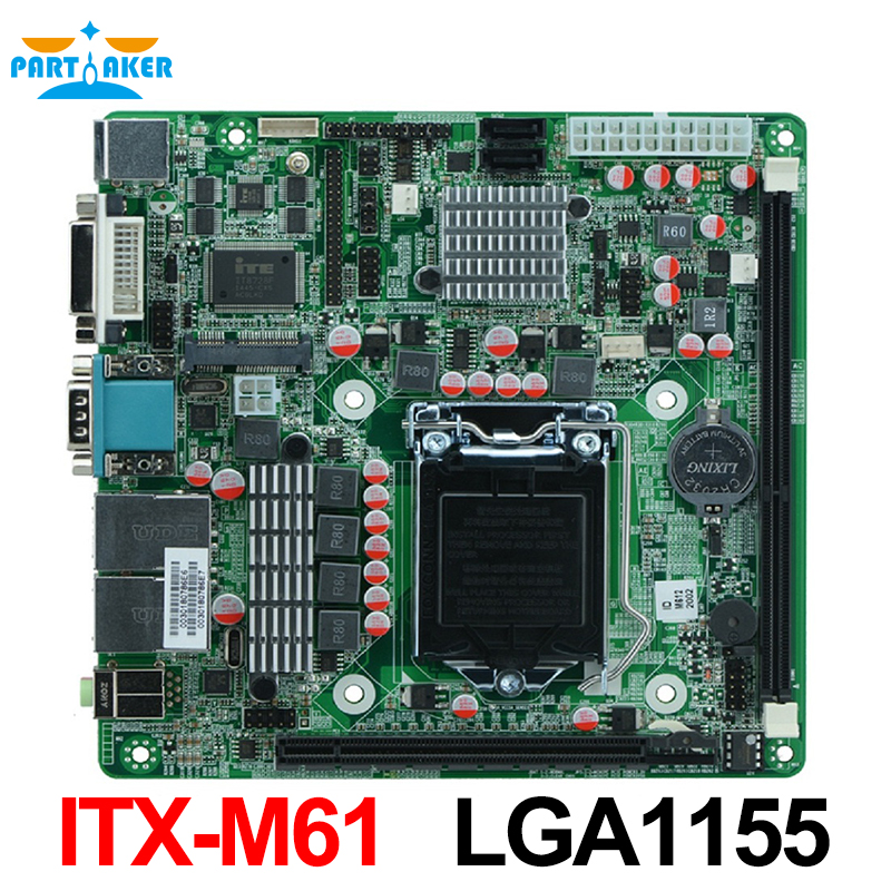 LGA1155 Socket i7 Motherboard-ITX-M61 industriel support Core i3/i5/i7 Pentium 22nm/32nm CPU avec 9 * USB/6 * COM
