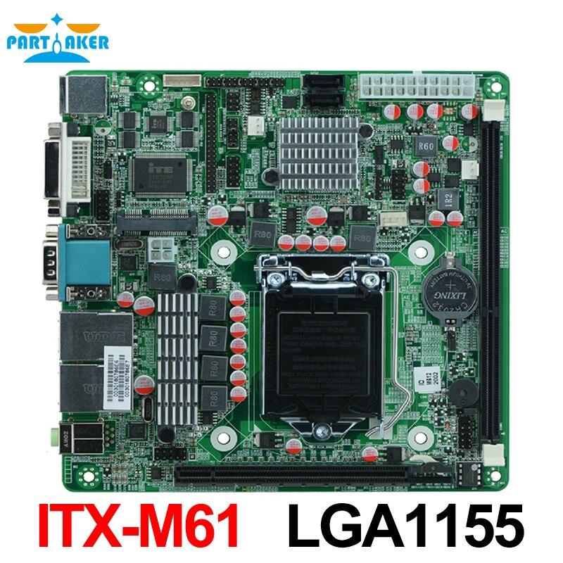LGA1155 Socket i7 Industrial Motherboard-ITX-M61 support Core i3/i5/i7 Pentium 22nm/32nm CPU with 9*USB/6*COM vactra industrial motherboard rocky 058hv 3 0 with cpu memory fan