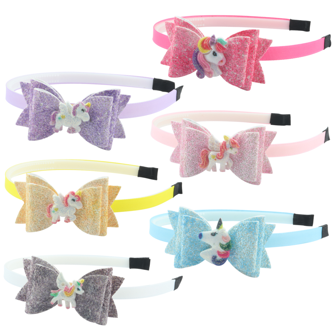 1pc Girls Hair Bow Hairband Unicorn Headband Children Spring Hair Accessories Glitter Hairbow Cartoon Animal Resin Shinning Bows