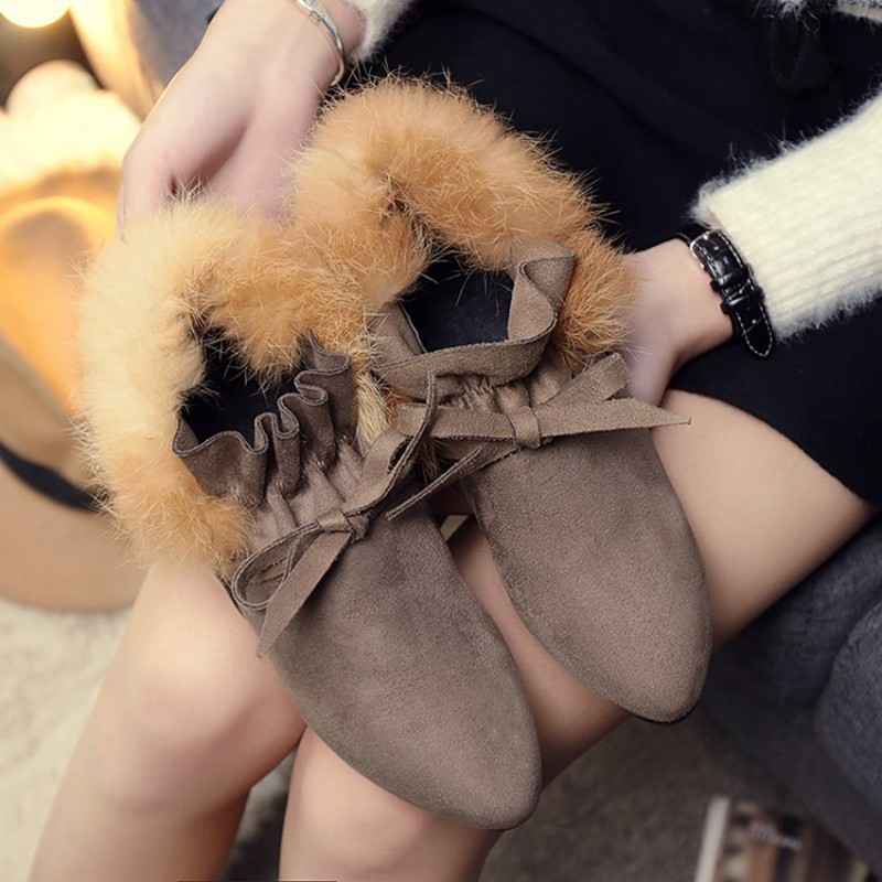COOTELILI  Women Boots Winter Autumn Ankle Boots For Women Boots Slip On Real Fur Rubber Flat Boots Ladies Women Shoes 35-.39 (6)