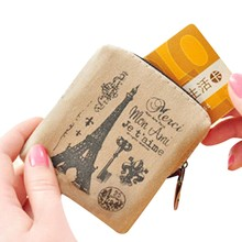 Classic Retro Printed Linen Coin Purses Women Girls Wallet Credit Card Holder Key Coin Bag Ladies Small Wallet Purse Pouch Case