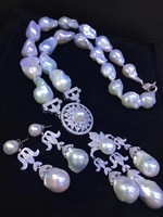 baroque natural fresh water pearl necklace and earring jewelry set wedding party jewelry 925 sterling silver with cubic zircon