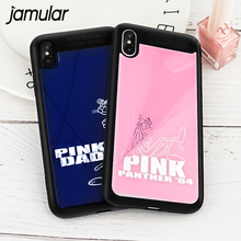 JAMULAR Cartoon Pink Panther Phone Case For iPhone X 8 7 6 Plus Soft Silicon Mirror Back Cover For iPhone 7 6 Cute Animals Coque
