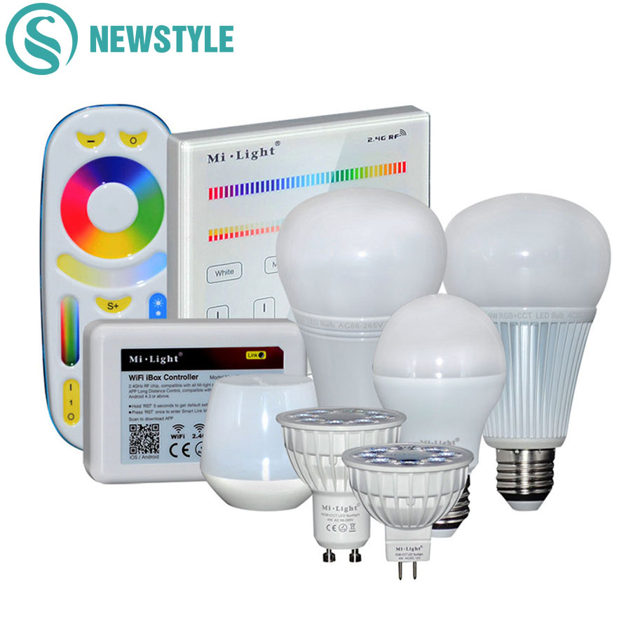 Milight RGBCCT Full Color 4W 6W 9W 12W LED Bulb GU10 MR16 E27 Dimmable LED Bulbs Lamp Light For Indoor Decoration Remote Control