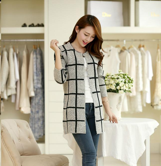 Jackat spring autumn winter coat loose Korean version new thin coat long sleeved knit cardigan code sweater