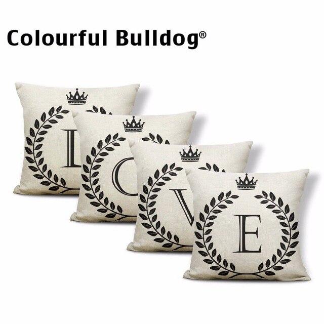 Alfabeto Lettera AZ Cushion Covers Famiglia Iniziale Re Regina Corona Federa Scu