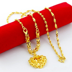 High Quality 24K Gold Color Plated Necklaces Imitation Gold Heart Pendant Chain Necklaces Jewelry Wholesale