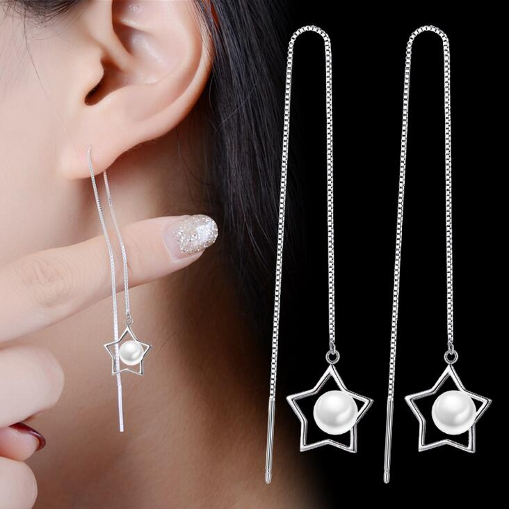 Korean Fashion Tassels Luxuru Jewelry 925 Sterling Silver Simulated-pearl Five-pointed star Women Gril Drop Line Earring Gift