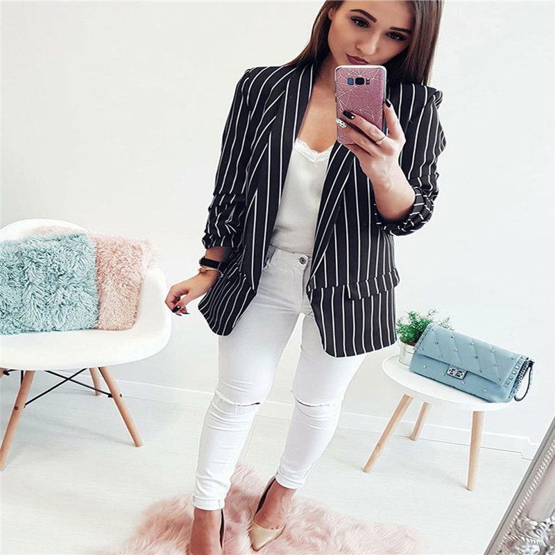 2018 New Arrival Women Early Autumn Striped Long Sleeve Casual Coat Suits Ladies striped suit Blazers women OL Jacket Hot jeans con blazer mujer