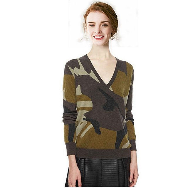 fe0201545cb4c 100% Cashmere Sweater Women Camouflage Knitted V Neck Long Sleeves Ladies  Classical Pullovers Knitwear Autumn
