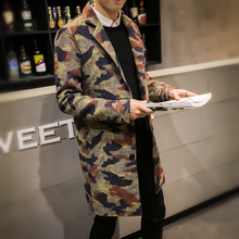 Hot Erkek Mont Coat Men Fashion 2016 Thicken Winter Jackets Mens Camouflage Single Breasted Casual Woolen Mens Coats Overcoats