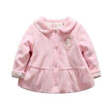 Зимнее пальто для маленьких девочек с рисунком кролика, теплая одежда на гусином пуху, зимняя одежда с цветочным принтом для детей 0-12 месяцев