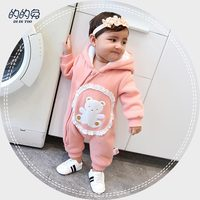 2018 Autumn winter Warm Baby Girl Boy Jumpsuit Baby Lace Romper hoodies Newborn Cartoon Bear Clothes Kids Children Jumpsuit