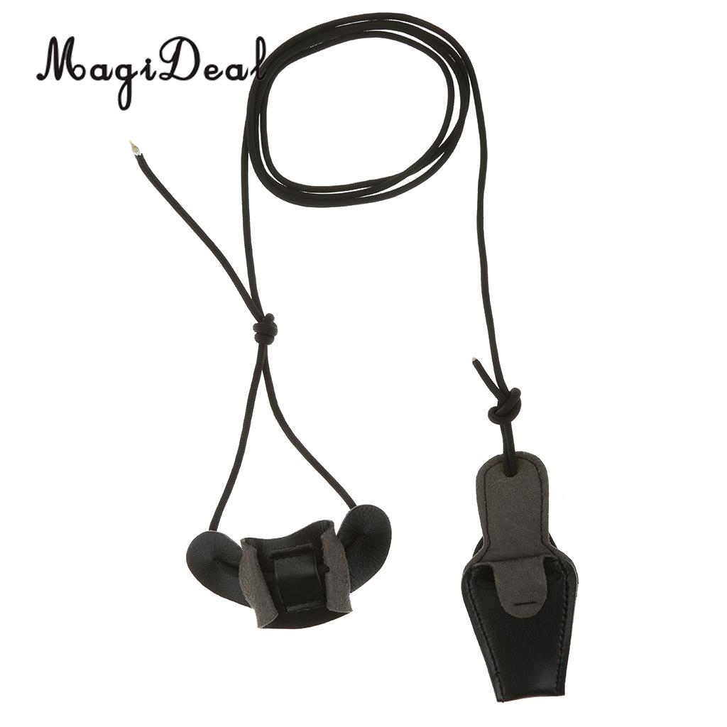 MagiDeal Archery Slider Nylon Recurve Bow Traditional Leather Bow Stringer Bowstringer 2m Outdoor Hunting Sport Accessory Black
