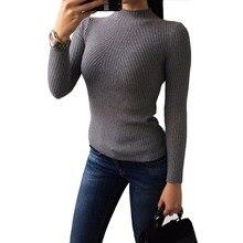 Водолазка тонкая основной вязаный пуловер матч все свитер рубашка дамы женский