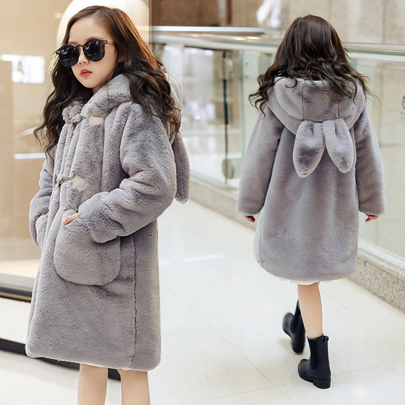 Children Faux fur coat 2018 new style winter fashion coat pink girls long coat cotton elegant hooded rabbit earst thick coat rib cuff zippered hooded coat