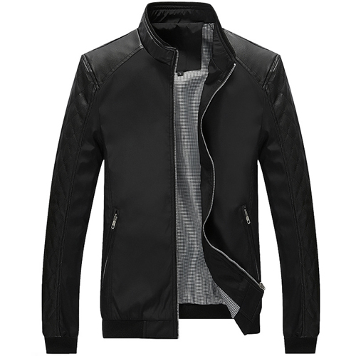 Plus Size 5XL Spring New Men's PU Patchwork Jackets Casual  Men's Thin Jackets Solid Slim Male Coats Brand Clothing