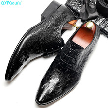 2019 Crocodile Pattern Mens Oxfords Dress Shoes Genuine Cow Leather Pointed Toe Lace Up Formal Footwear Wedding Part