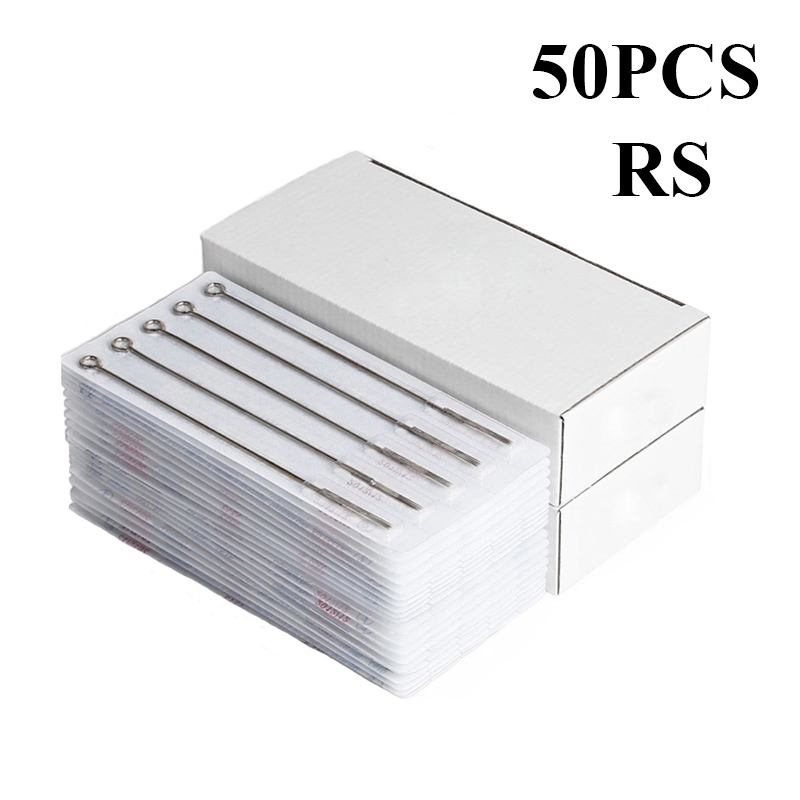50PCS Professional Tattoo Needles 3RS 5RS 7RS 9RS 11RS 14RS 15RS Size Disposable Assorted Sterile Tattoo Needles 0.35mm
