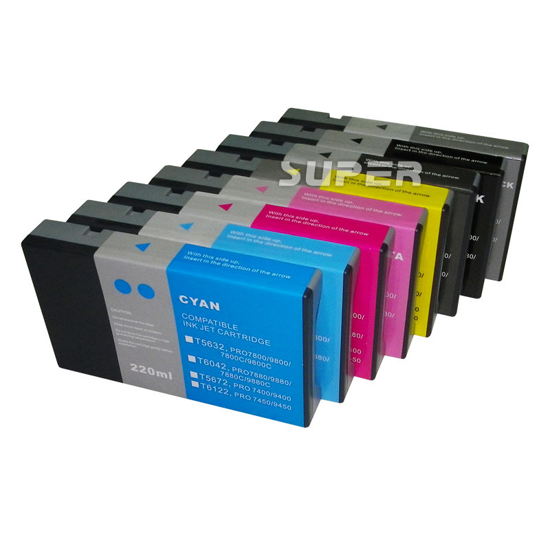 100% Compatible printer cartridges Empty  for epson 7880 9880  8 color With chips on high quality 11color refillable ink cartridge empty 4910 inkjet cartridges for epson 4910 large format printer with arc chips on high quality