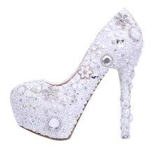 Bride pearl water drill flower white wedding shoes super heel waterproof platform wedding  shoes