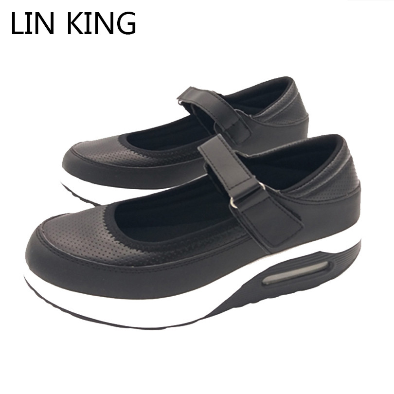 LIN KING New Breathable Women Swing Shoes PU Leather Low Top Shallow Mouth Platform Elevator Shoes Height Increase Nurse Shoes