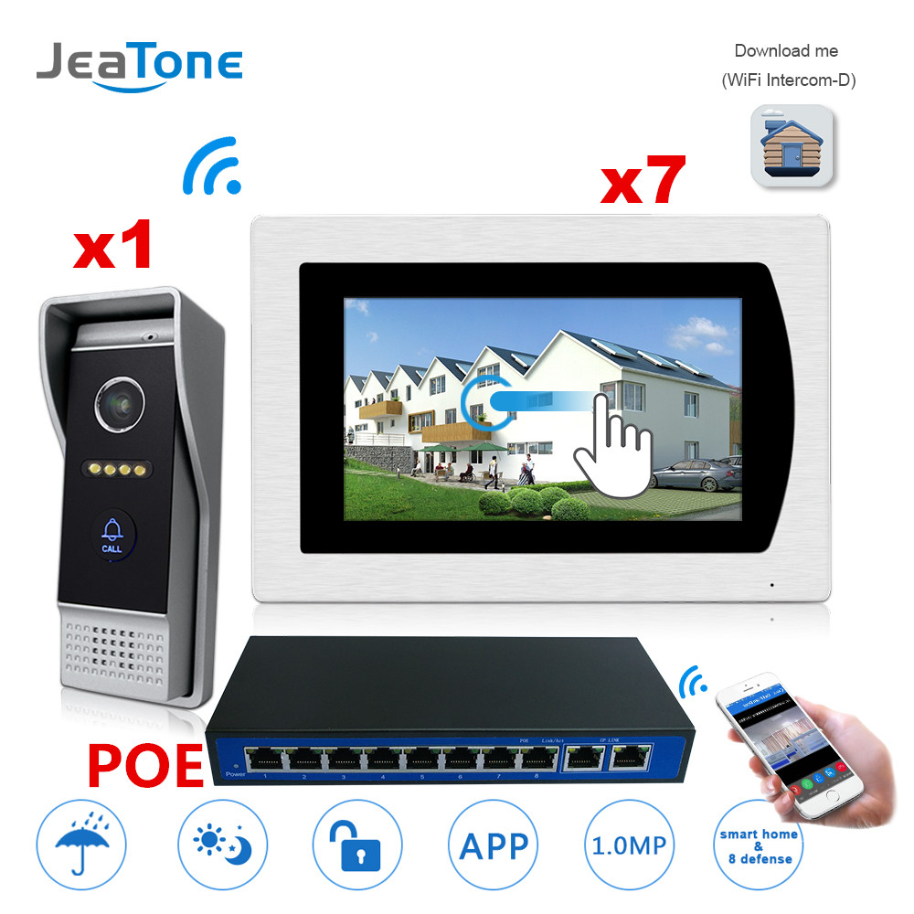7'' Touch Screen WIFI IP Video Door Phone Video Intercom Villa Building 1-7 Access Control System Motion Detection + POE Switch