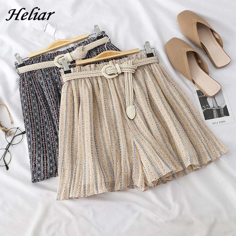 HELIAR Casual Shorts Female Shorts Striped Casual Chic High Waist Short With Sashes 2019 Women Streetwear Loose Wide Leg Shorts