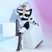 S 3XL Women New Sexy Rompers Bar nightclub female singer dj dance team black and white striped patent leather Jumpsuits costumes