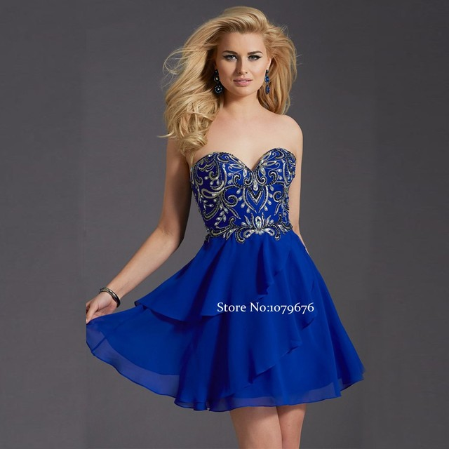 Hot Sale Royal Blue Homecoming Dresses 2016 New Arrival Sweetheart  Embroidery Chiffon Dress Short Graduation Prom Gowns DSH004 e73797fb9483