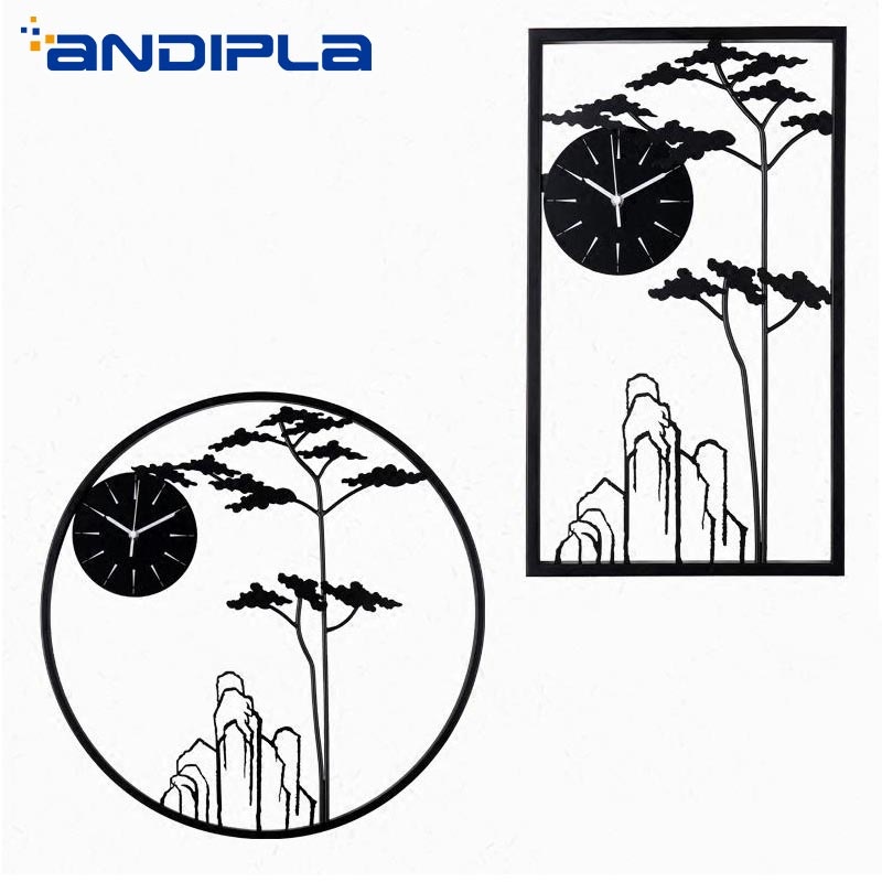 Modern Design Chinese Style Landscape Wall Clocks Creative Metal Round Rectangle Wall Watch Clock Living Room Bedroom Wall Decor