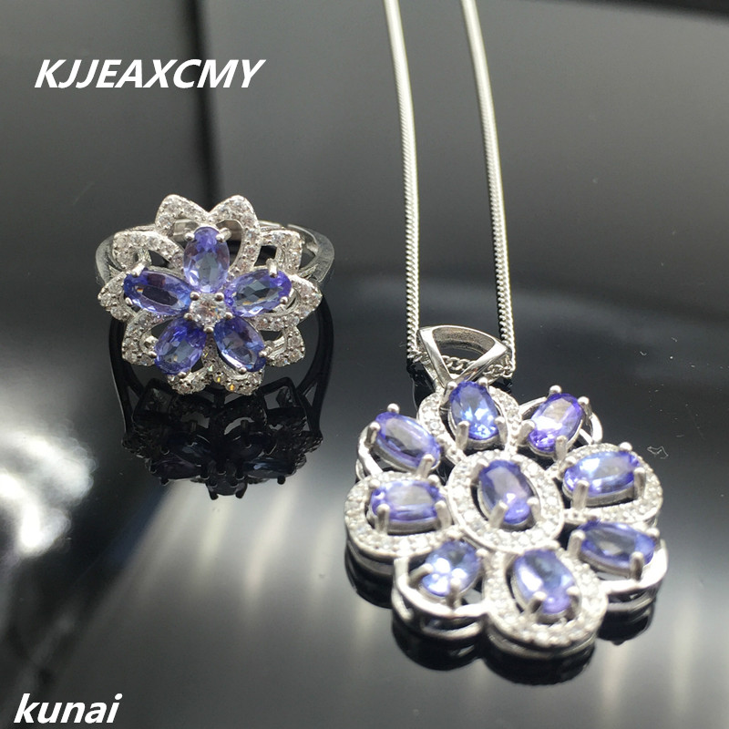 KJJEAXCMY Fine jewelry, Colorful jewelry, 925 silver inlaid natural Tan Tao stone sets, women's simple, generous wholesale цены