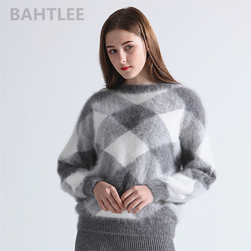 BAHTLEE Autumn Winter Women's Angora Rabbit Knitted Lantern Sleeve Pullovers Sweater Colorblock Diamond Geometry Keep Warm