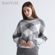 BAHTLEE Autumn winter womens angora rabbit knitted lantern sleeve pullovers sweater Colorblock Diamond geometry keep warm