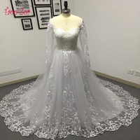 Amdml Luxury Pearls Beaded Lace Princess A Line Wedding Dress 2017 Sexy Appliques O Neck Bride