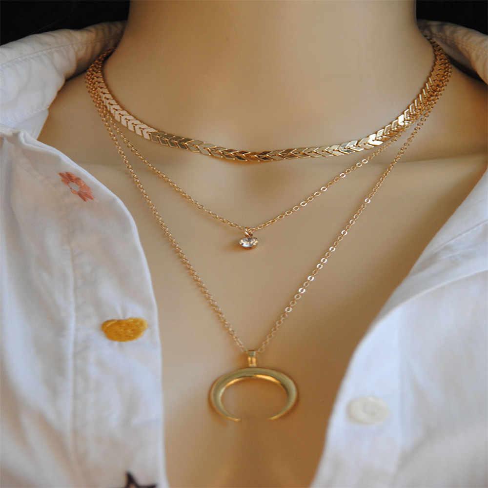 Susenstone 2019 Multi Lantai Crescent Liontin Klavikula Rantai Kalung Logam Perhiasan Hot Sale