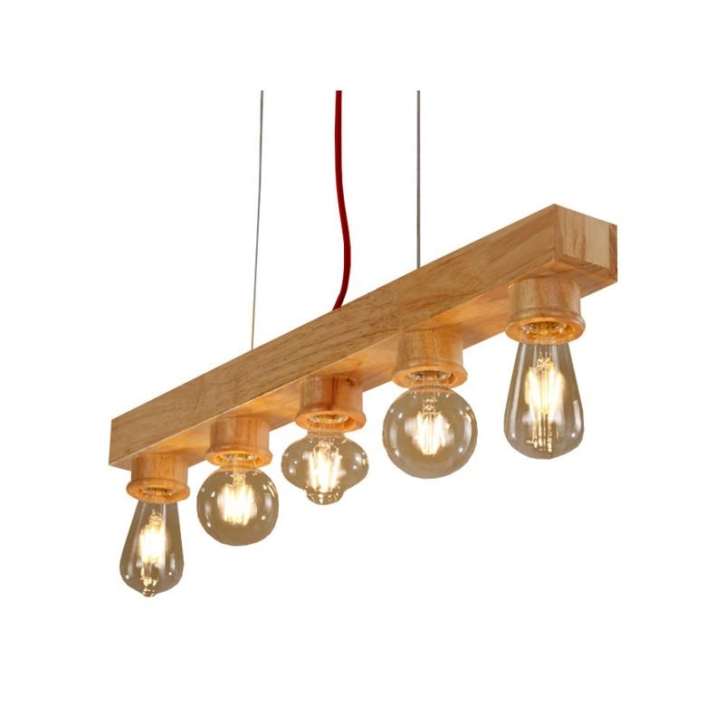 Reines Naturholz Macht Pendelleuchte 5 Lichter Holz Lampe Moderne Pendelleuchte Vintage Pendelleuchte Freies Verschiffen (DO-40)