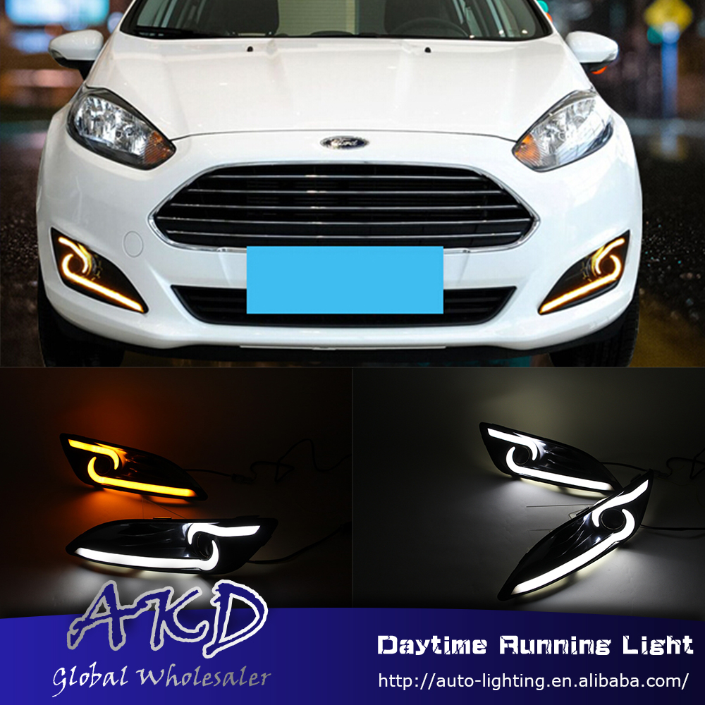 AKD Car Styling for Ford Fiesta 2014-2016 LED DRL for New Fiesta Front Led Drl Running Light Fog Light Parking Accessories автоинструменты new design autocom cdp 2014 2 3in1 led ds150