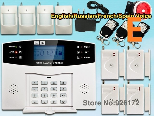 Wireless GSM Home Alarm System Russian and English Spanish French voice SMS GSM alarm system